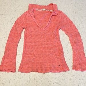 EUC Roxy Hang With Me Coral Hooded Poncho Sweater